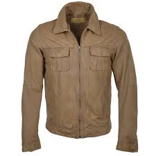 leather denim style jacket camel saraha