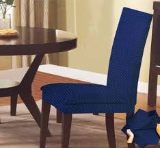 Dining Chair Cover Stretch Dots Dining Chair Cover Blue