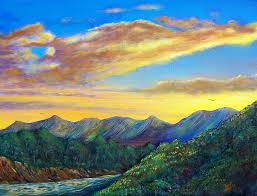 sunsets painting mountain sunset by tony rodriguez