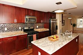 85 beautiful fashionable kitchen paint colors with cherry cabinets white granite countertops gas cooker stove tile flooring brown lacquered wood cabinet