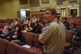 scoutmaster lee hutchins works to recruit female scouts during an open house information session about a new s troop he is launching at old bridge