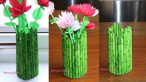 News Paper Flower Vase How To Make A Paper Flower Vase Pen Stand Diy Simple Paper Craft