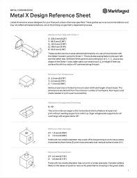 Markforged Design Guide Metal X Design Reference Sheet Free Markforged Inc Guide