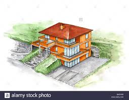 Villa Sketch Design Illustration Increase Family House Watercolor Drawing Sketch