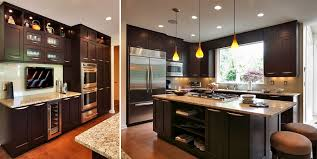 ... Kitchen Full Kitchen Remodel Kitchen Before And After Photos Wood  Counter Height Bar Stools Bronze Chandeliers