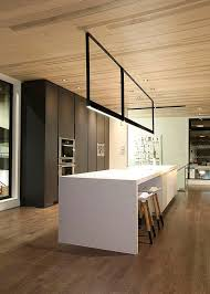 contemporary kitchen lighting. kitchen very modern and with an inspired lighting suspension that creates a notional division contemporary