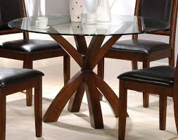 rustic wooden base dining table and chairs with round glass top