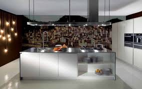 artistic kitchen wall art with wallpaper and sy contemporary island with glossy countertop