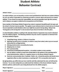 Behavior Contract Template Athlete Behavior Contract Template Study Com