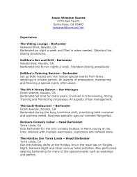 Bartender Resume Example Template Job Description Of Bartender For