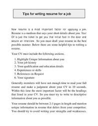 Tips For Writing Resume For A Job By Apnaindia Issuu Delectable Tips For Writing A Resume