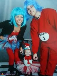 baby cat in the hat and her thing 1 thing 2 family costume
