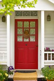 Decorations:Amazing Red Door In The Center Of Green Plants Crawl On The  Wall Stunning