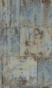wallpaper rasch metal rust patina vintage blue 939712 001