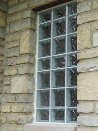 bathroom glass block windows at st james episcopal church in columbus ohio with mortar around