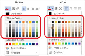 office color palette. Screenshot Of The Theme Colors Drop Down Before And After Changing Office Color Palette