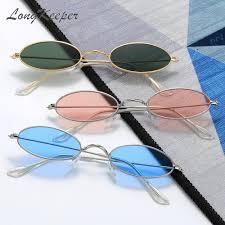 LongKeeper Retro Small Oval <b>Sunglasses Women</b> Men Vintage ...
