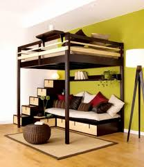 multifunctional furniture for small spaces. Inspiring Bedroom Over The Seating Spot With Shelving Stairs For Multifunctional Furniture Design In Small Spaces D