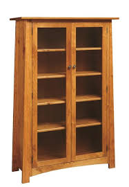 mission style glass door bookcase