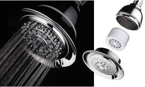 hotelspa 5 filtered 6 setting shower head with 3 stage filter