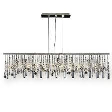 modern 5 light linear chrome chandelier