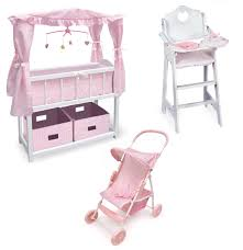 dolls furniture set. Canopied Doll Crib Furniture Set - [01723-SET2] Dolls