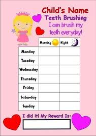 Teeth Cleaning Sticker Chart Childrens Teeth Tooth Cleaning Reward Timer Chart Brick