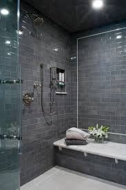 modern tile showers. Interesting Showers Contemporary Shower Boasts A Gray Subway Tiled Ceiling And Walls Lined With  White Marble Top Bench Alongside Hex Showeu2026 On Modern Tile Showers O