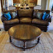 image of large round coffee table shelf