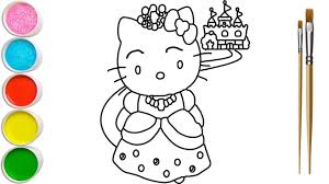 Your child will enjoy coloring these pages just as. Hello Kitty Princess Coloring Pages For Kids Hello Kitty Princess Painting For Kids Learn Colors Youtube