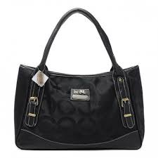 Coach Madison Buckle In Signature Large Black Satchels BQY