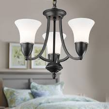 3 light black wrought iron chandelier with glass shades dk 8037 3