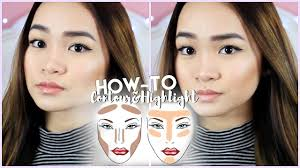 where to highlight how to contour highlight asian dewy skin look slimmer face