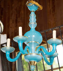 turquoise blue opaline five arm chandelier new old stock