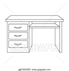 office desk clipart black and white. Interesting And Office Desk Icon In Outline Style Isolated On White Background  Furniture And Interior Symbol Stock Bitmap Rastr Illustration To Desk Clipart Black And White F