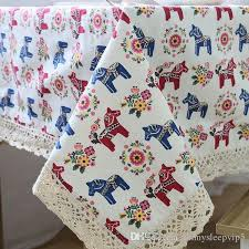 linen table cloth with lace horse print country style rectangular dinning tablecloths cover kitchen toalha de mesa zb 10 picnic tablecloth round table