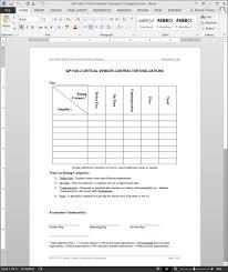 contractor forms templates critical vendor contractor evaluation iso template