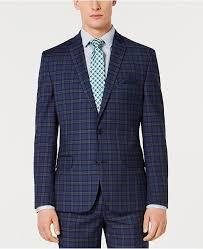 Mens Slim Fit Stretch Dark Blue Plaid Suit Jacket Created For Macys