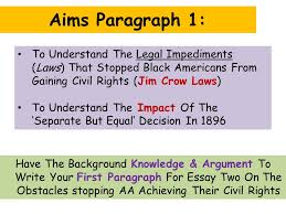 issue the obstacles to black americans gaining civil rights in  2 aims