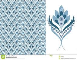 Bloemen Naadloos Behang Blauw Vector Illustratie Illustratie
