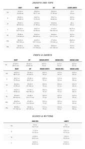 North Face Europe Size Chart Size Charts