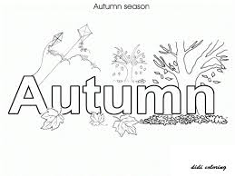 printable autumn season with leave fall coloring page for kids