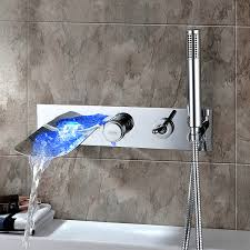 chrome finish color changing wall mount tub faucet with hand shower at faucetsdeal com