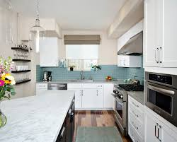 Beach Kitchen Blue Glass Tile Backsplash Kitchen Beach With Coastal Kitchen Ct