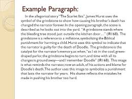 scarlet ibis essay the scarlet ibis essay doit ip the scarlet ibis  the scarlet ibis by james hurst some background information example paragraph in the allegorical story ""