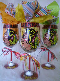 hand painted chicago blackhawks wine glass by withlovesandy on s