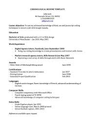 Examples Of Chronological Resumes Undergraduate Students Resume