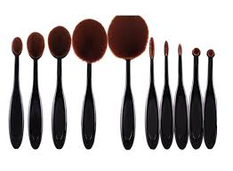 oval toothbrush style makeup brush set 10
