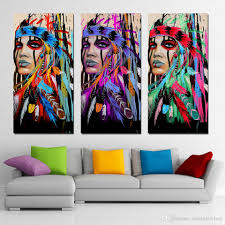 3 panels canvas art native american indian feather home decor wall art painting canvas prints pictures for living room poster decoracion cactus decoracion