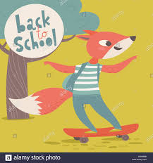How To Design A Poster For School Welcome Back To School Poster With Cartoon Animals Fox With